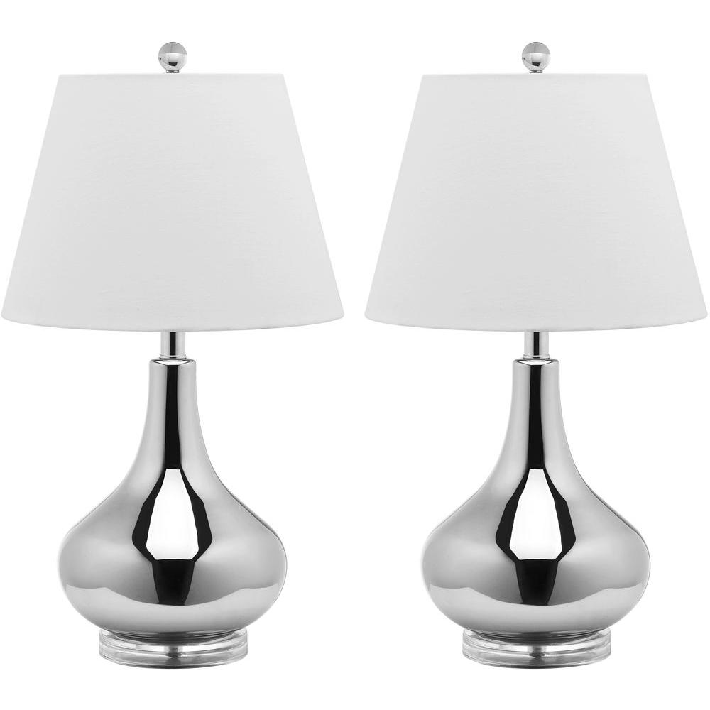 Safavieh Amy 24 in. Silver Gourd Glass Lamp (Set of 2)