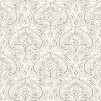 56.4 sq. ft. Donovan Cream Nouveau Floral Wallpaper
