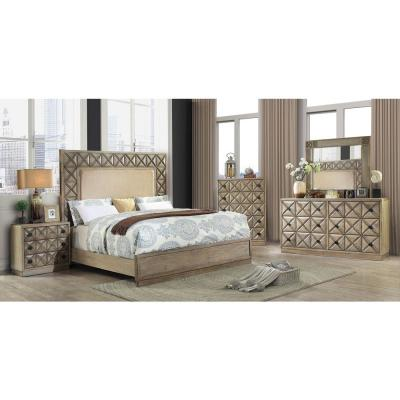 Markos Queen Bed with Fabric in Weathered light oak finish