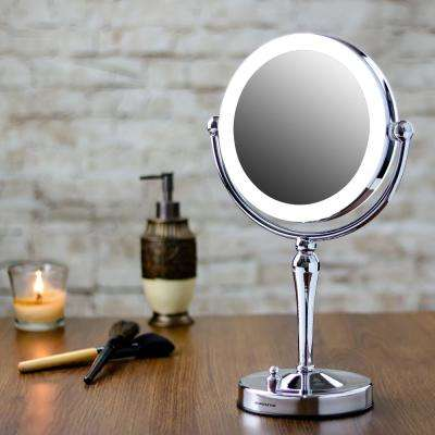 Polished Chrome Lighted Tabletop Makeup Mirror with Battery or USB Adapter Operated, 1x 10x Magnification