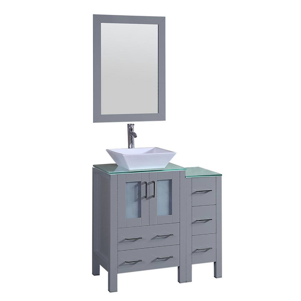 Bosconi Bosconi 36 in. Single Vanity in Gray with Vanity Top in Green with White Basin and Mirror