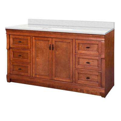 Naples 61 in. W x 22 in. D Vanity Cabinet in Warm Cinnamon with  Marble Vanity Top in Snowstorm with White Basin