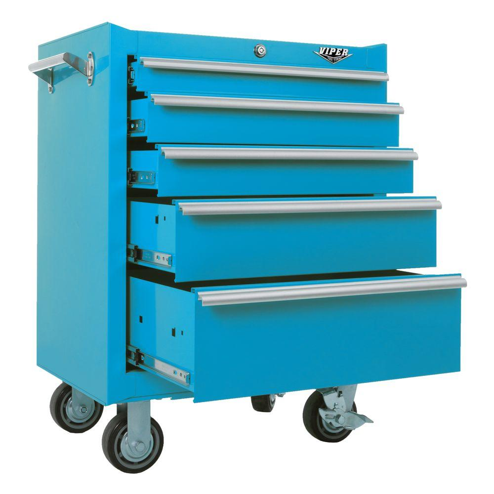 Viper Tool Storage 26 in. 5-Drawer Cabinet in Teal