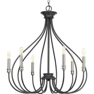 Whisp Collection 6-light  Graphite Chandelier