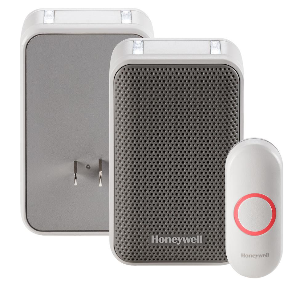 Honeywell Rdwl313a White//Gray Wireless Portable Doorbell With Strobe Light And P