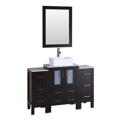 48 in. W Single Bath Vanity with Carrara Marble Vanity Top in Gray with White Basin and Mirror