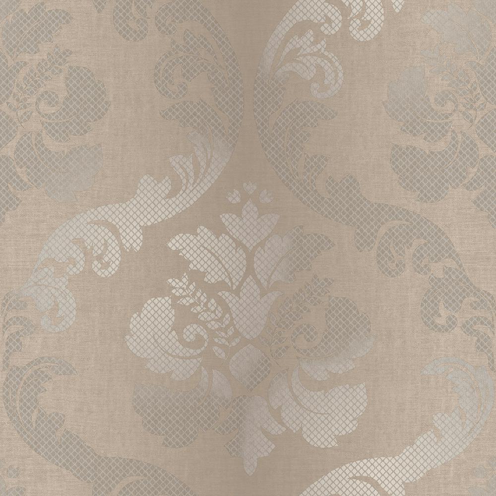 Delilah Brown Tulip Damask Wallpaper Sample
