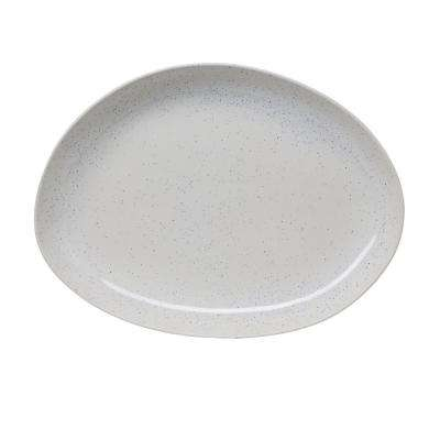 17 in. Milk Street White Stoneware Organic Oval Platter with Speckled Finish