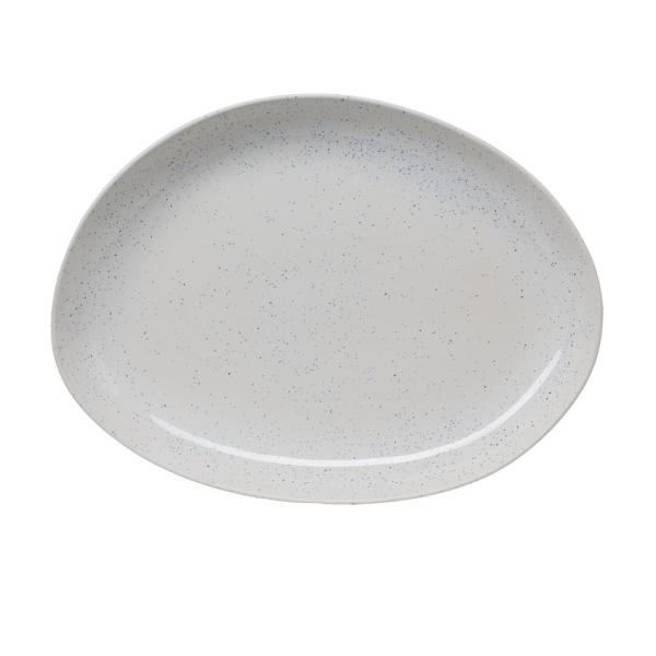 Amici Home 17 in. Milk Street White Stoneware Organic Oval Platter