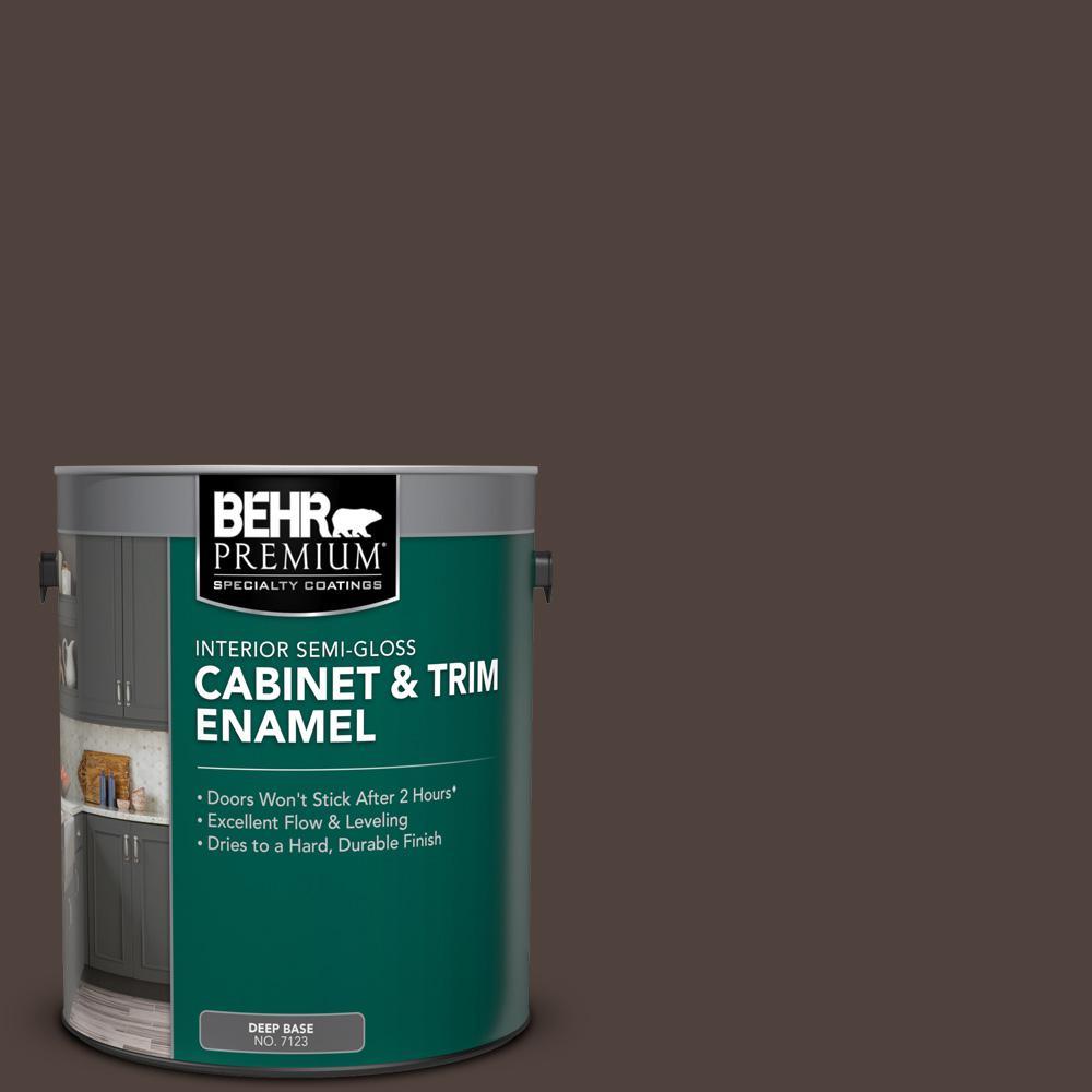 Behr Premium 1 Gal Ppu5 01 Espresso Beans Semi Gloss Enamel Interior Cabinet And Trim Paint 712301 The Home Depot