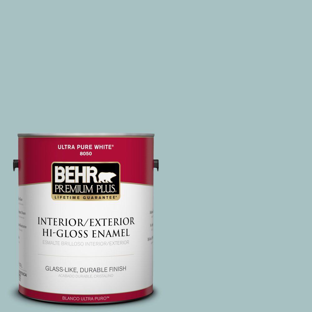 1-gal. #500F-4 Swan Sea Hi-Gloss Enamel Interior/Exterior Paint