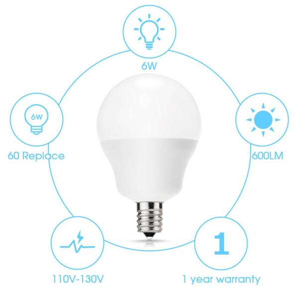 B11 E12 Base 60W Equivalent LED Candelabra Light Bulbs Clear Dimmable 110V 6Pack