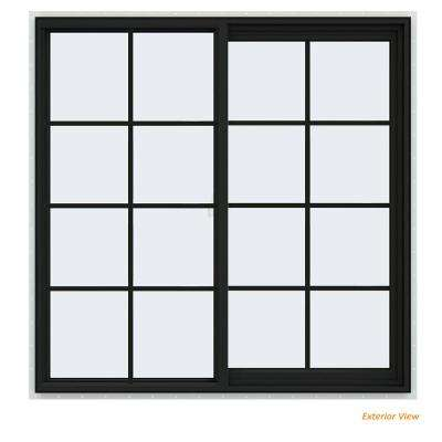 47.5 in. x 47.5 in. V-2500 Series Bronze Painted Vinyl Right-Handed Sliding Window with Colonial Grids/Grilles