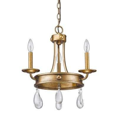 Krista 3-Light Indoor Antique Gold Mini Chandelier with Crystal Pendants