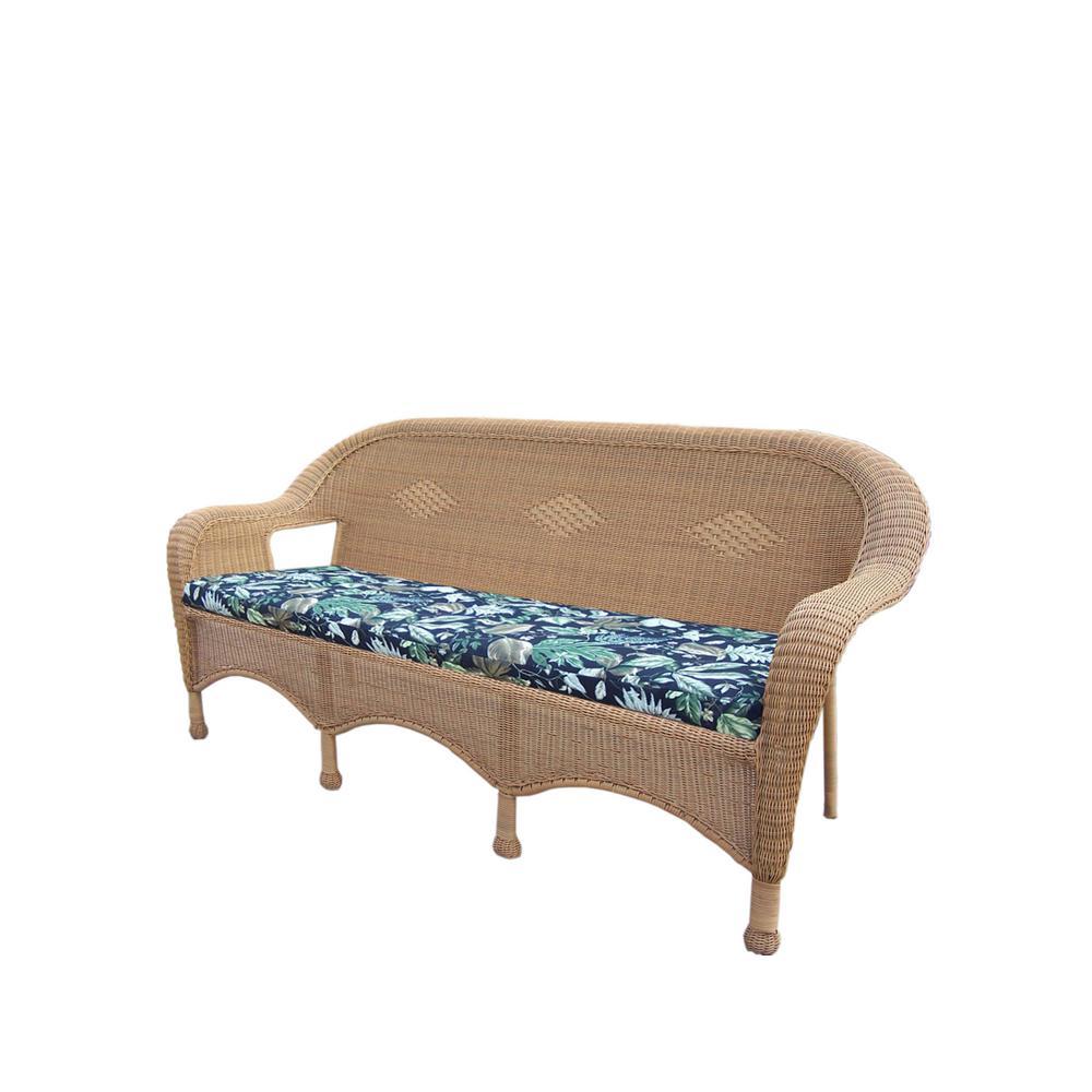 Honey Wicker Outdoor Sofa with Black Cushions