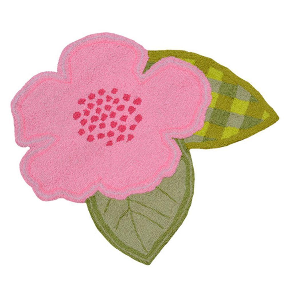 Bloom Shaped Pink 2 ft. 6 in. x 2 ft. 6 in. Indoor Area Rug