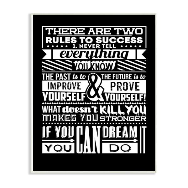 12 5 In X 18 5 In Two Rules To Success Black And White Inspirational Typography By Typelike Wood Wall Art