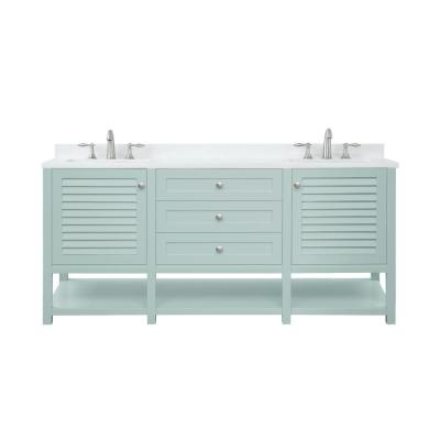 Grace 72 in. W x 22 in. D Bath Vanity in Minty Latte with Cultured Marble Vanity Top in White with White Basin