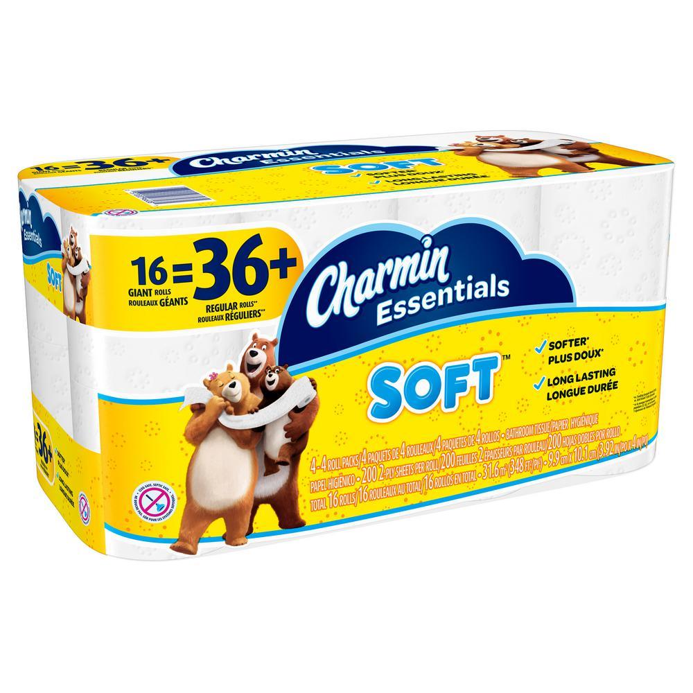 toilet tissue paper essentials soft 2ply 16 giant rolls