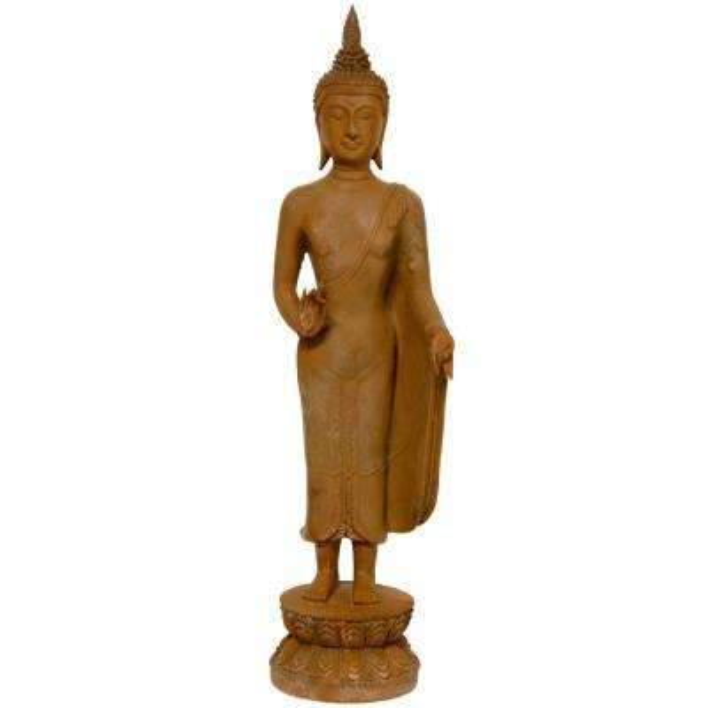 Oriental Furniture 21 in. Thai Standing Gebon Rust Patina Buddha Decorative Statue