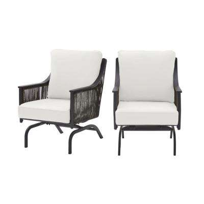 Bayhurst Black Wicker Outdoor Patio Rocking Lounge Chair with CushionGuard Chalk White Cushions (2-Pack)