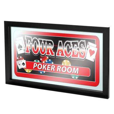 Four Aces Poker Room 15 in. x 26 in. Black Wood Framed Mirror