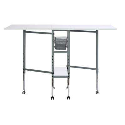 Hobby Craft 60 in. W x 36 in. D MDF Folding Fabric Cutting Table with Drawers, Adjustable Height, Silver / White