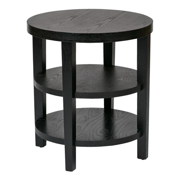 Office Star Products Merge 20 in. Black Round End Table MRG09-BK