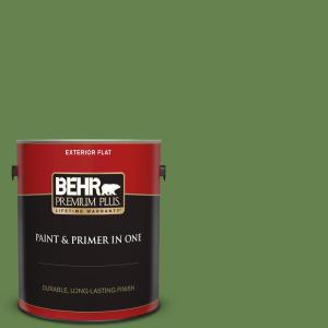 Behr Premium Plus 1 Gal 430d 6 Happy Camper Flat Exterior Paint And Primer In One 430001 The Home Depot