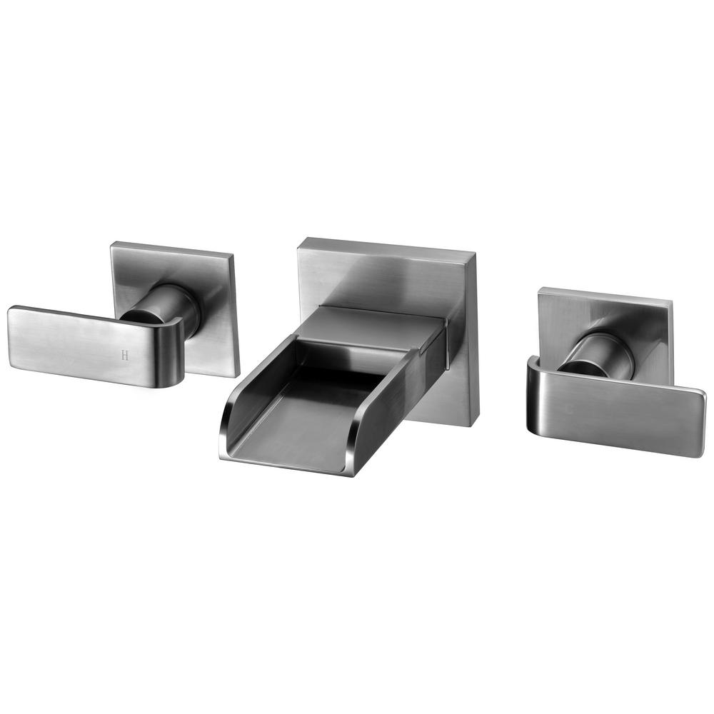 8 in. Widespread 2-Handle Luxury Wall Mount Bathroom Faucet in Brushed