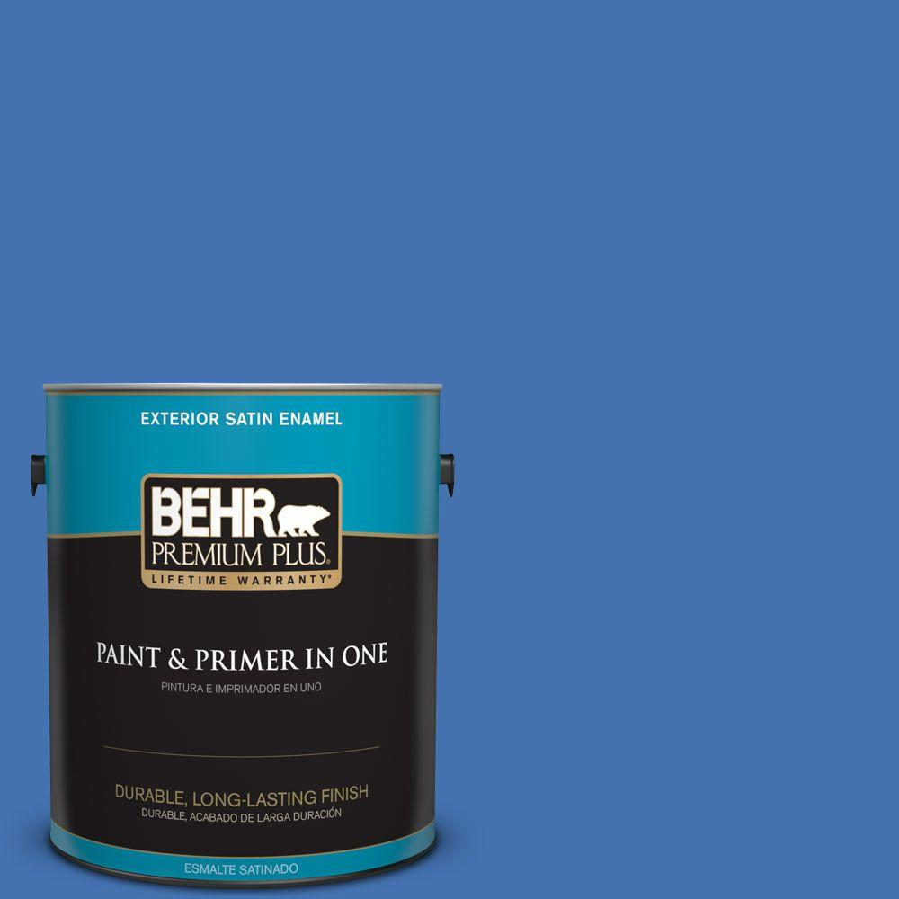 1 gal. #HDC-SM16-07 Croquet Blue Satin Enamel Exterior Paint and Primer