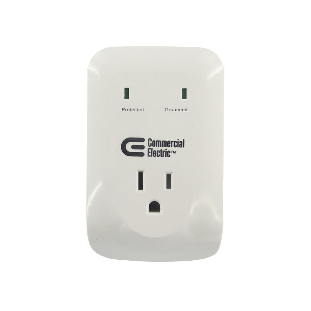 Commercial Lightning Protection: Commercial Electric 1-Outlet Wall Mount Surge Protector