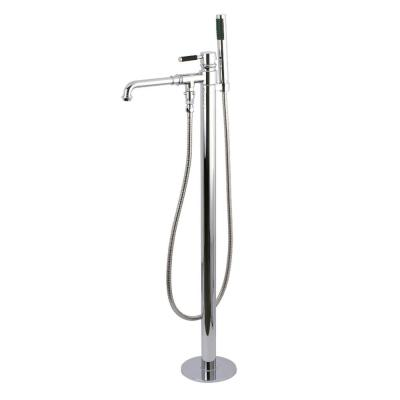 Modern Single-Handle Floor-Mount Roman Tub Faucet with Hand Shower in Chrome