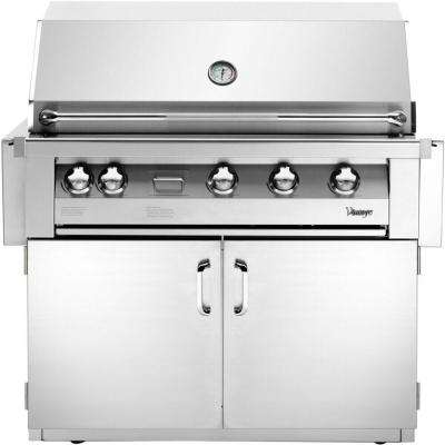 42 in. Built-In Liquid Propane Gas Grill in Stainless with Sear Zone and 2-Door Cart