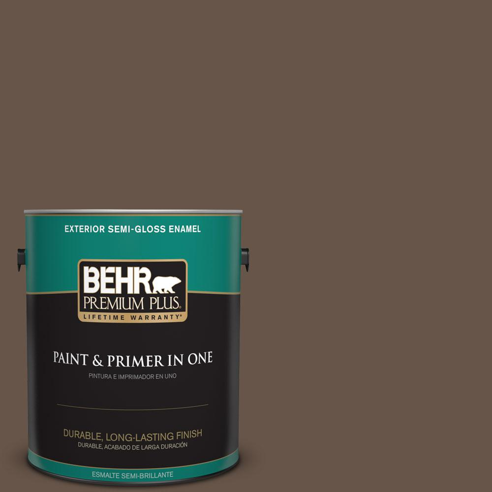 BEHR Premium Plus 1-gal. #BXC-79 Center Earth Semi-Gloss Enamel Exterior Paint
