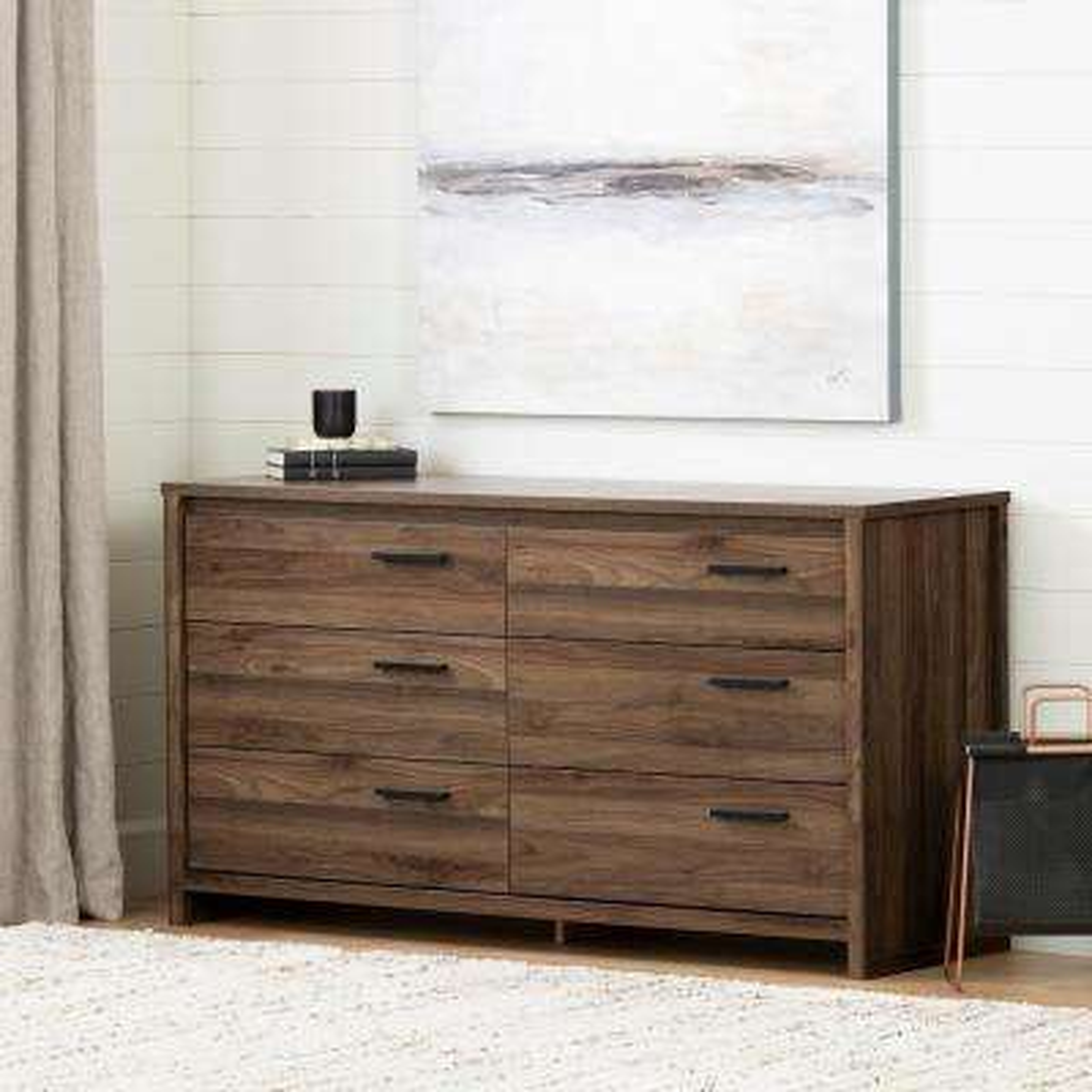 Tao 6 -Drawer Natural Walnut Dresser