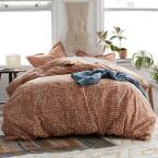 Brexton 3-Piece 200 Thread Count Cotton Percale Full Duvet Cover Set in Terracotta