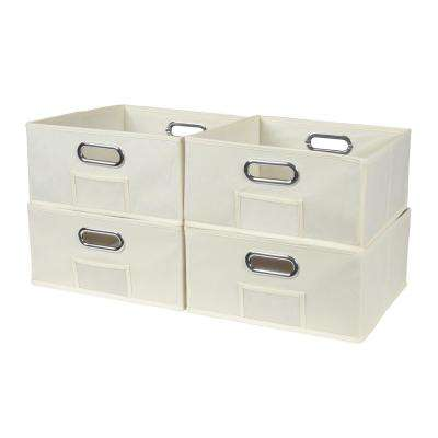 Cubo 12 in. x 6 in. Beige Folding Fabric Bin (4-Pack)