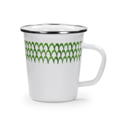 Green Scallops 16 oz. Enamelware Latte Mug