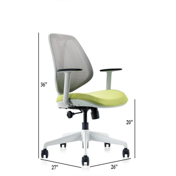 Cozyblock Omin Series Gray Mesh Low Back Office Chair With Lumbar Support Adjustable Height And Seat Tilt Lock W Green Cushion Omin G Grn The Home Depot