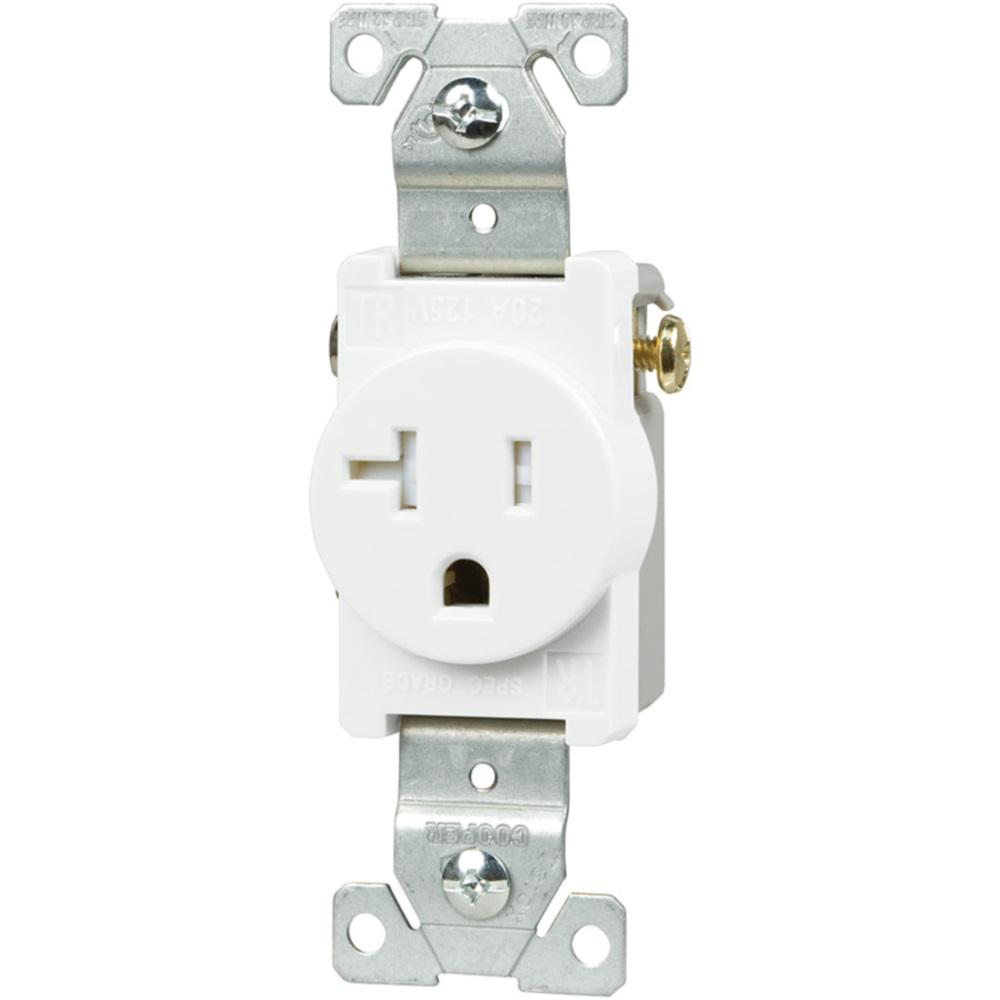 20 Amp Heavy-Duty Grade Straight Blade Tamper Resistant Single Outlet, White