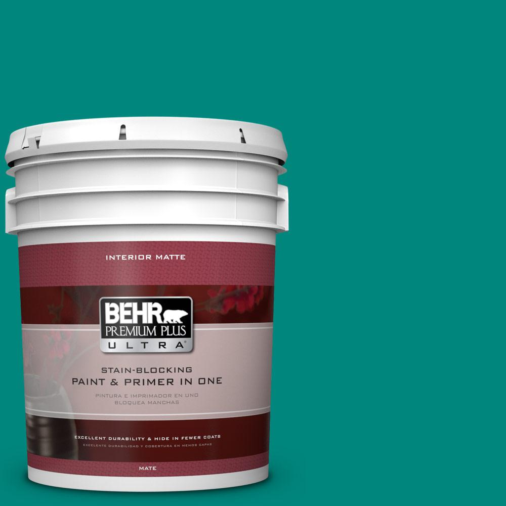 Behr premium plus ultra 5 gal p450 7 mystic turquoise matte interior paint and primer in one for Behr interior paint and primer in one