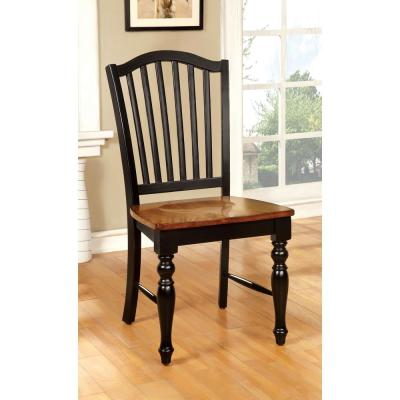 Mayville Black and Antique Oak Elegant Country Style Side Chair