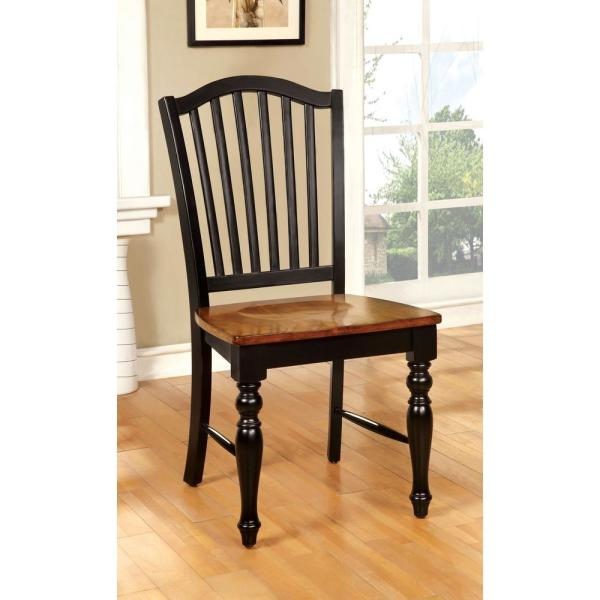 Mayville Black and Antique Oak Elegant Country Style Side Chair CM3431SC-2PK