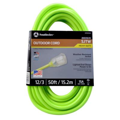 50 ft. 12/3 SJTW Outdoor Heavy-Duty Neon Green Extension Cord with Power Light Plug
