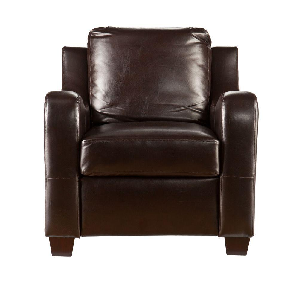 Southern Enterprises Donatello Brown Leather Stationary Arm Chair