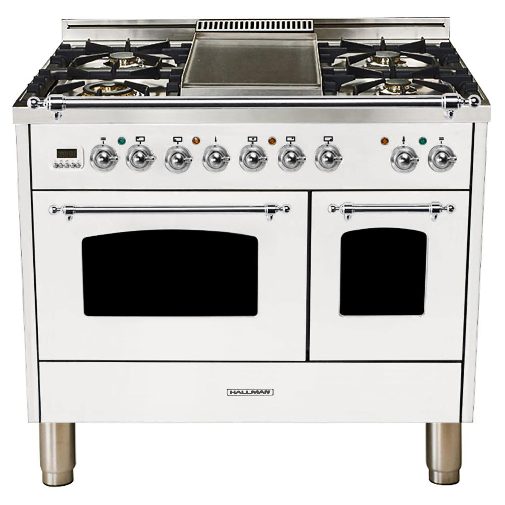 Hallman 40 in. 4.0 cu. ft. Double Oven Dual Fuel Italian Range with True Convection, 5 Burners, Griddle, Chrome Trim in White