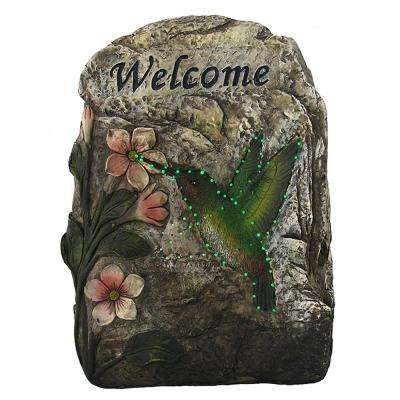 9.5 in. LED Lighted Solar Powered Welcome Hummingbird Outdoor Garden Stone