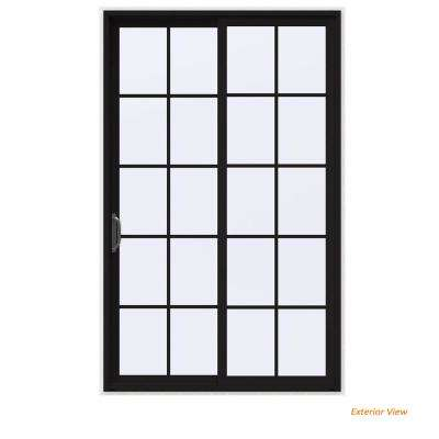 60 in. x 96 in. V-4500 Contemporary Black Painted Vinyl Left-Hand 10 Lite Sliding Patio Door w/White Interior
