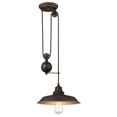 Iron Hill 1-Light Oil Rubbed Bronze with Highlights Pulley Pendant